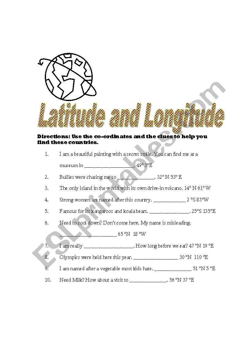 medium resolution of English worksheets: Latitude and Longitude