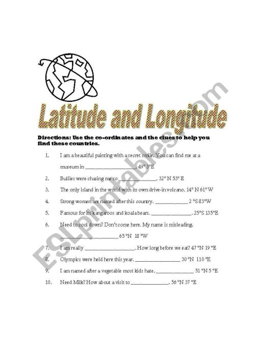 small resolution of English worksheets: Latitude and Longitude