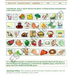 Five Basic Food Groups - ESL worksheet by gisel [ 1169 x 821 Pixel ]