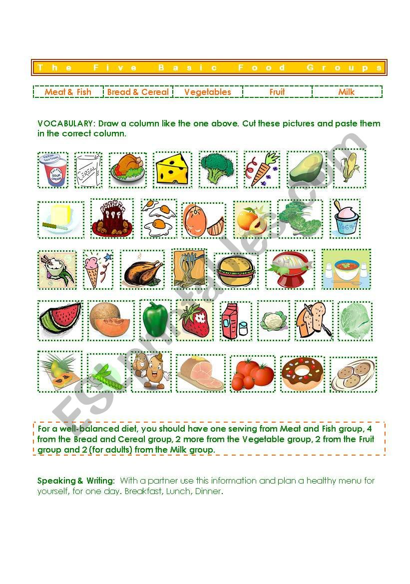 medium resolution of Five Basic Food Groups - ESL worksheet by gisel