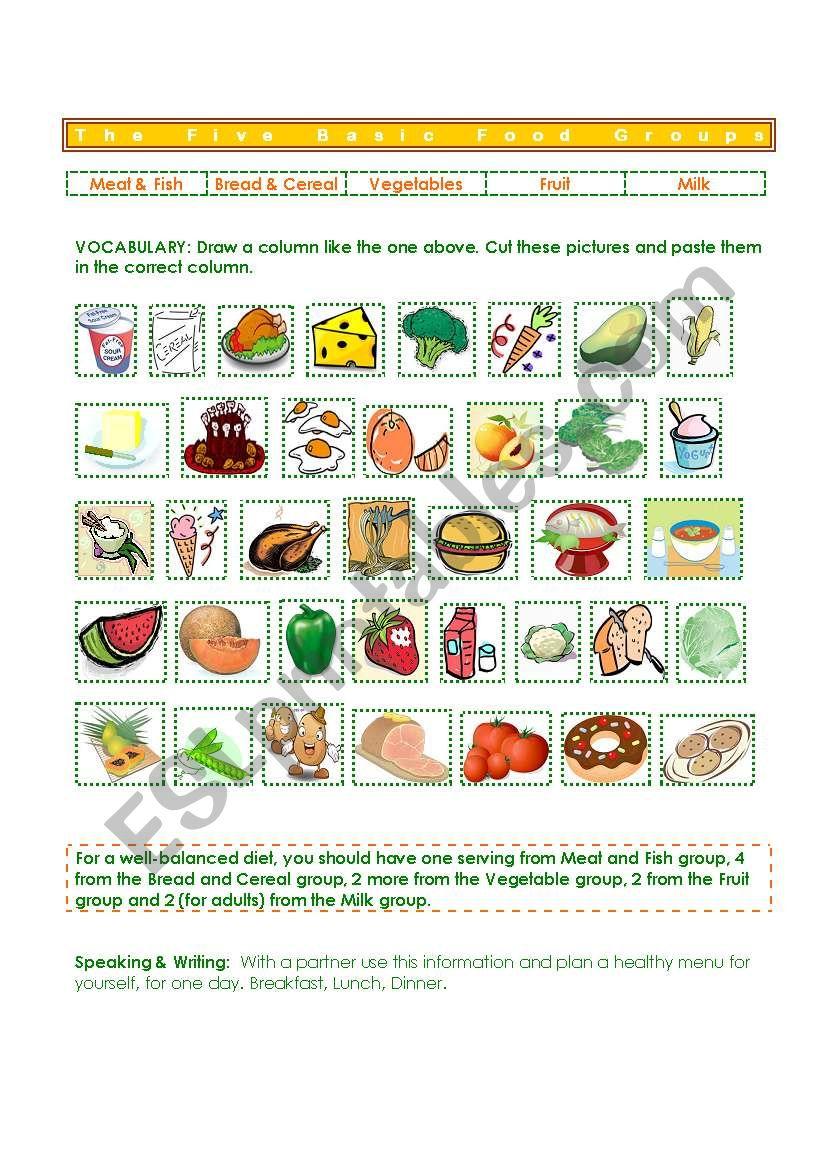 hight resolution of Five Basic Food Groups - ESL worksheet by gisel