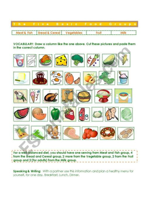 small resolution of Five Basic Food Groups - ESL worksheet by gisel