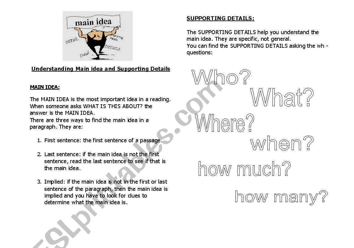 English Worksheets Main Idea