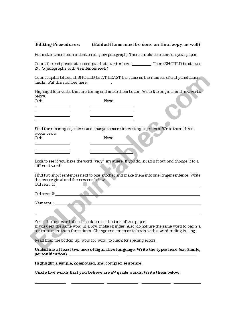 medium resolution of English worksheets: Editing