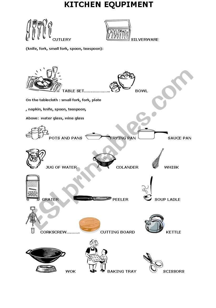 English worksheets: kitchen equipment