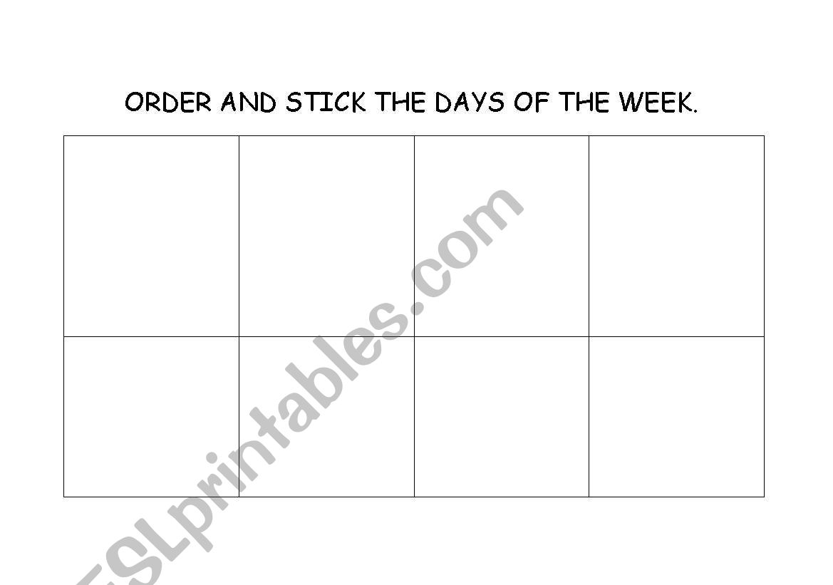 English Worksheets The Days Of The Week Cut And Stick