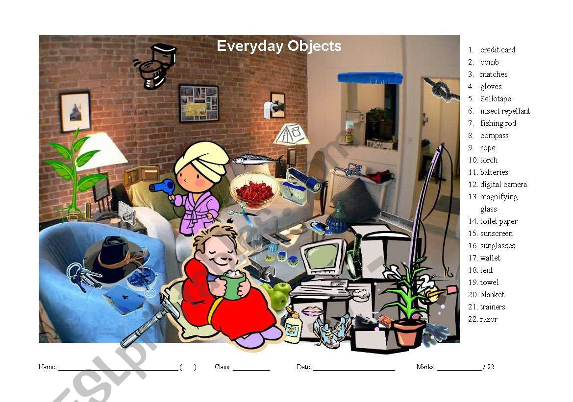 Hidden Object Game For Learning Vocabulary About Everyday