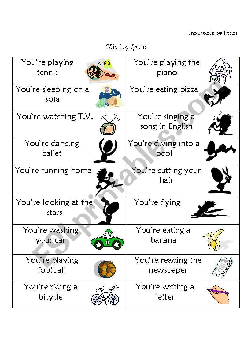 Miming Game Present Continuous Practice ESL Worksheet