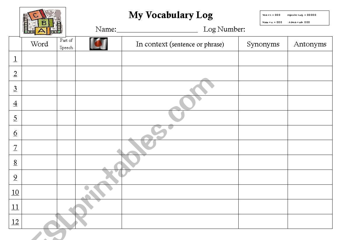 Vocabulary Log Sheet
