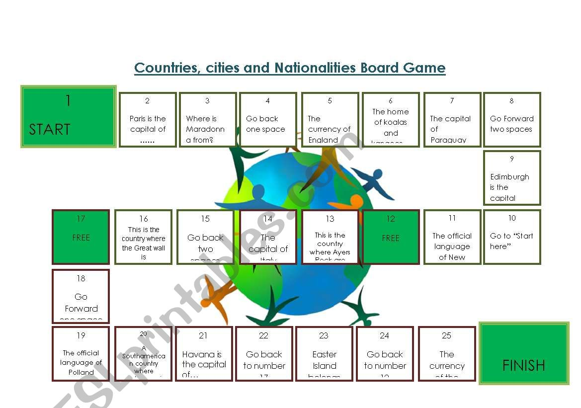 Board Game Countries And Nationalities