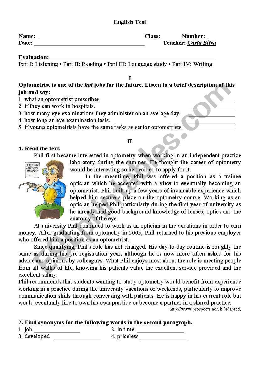 hight resolution of 11th Grade test - ESL worksheet by carlaaguiarsilva