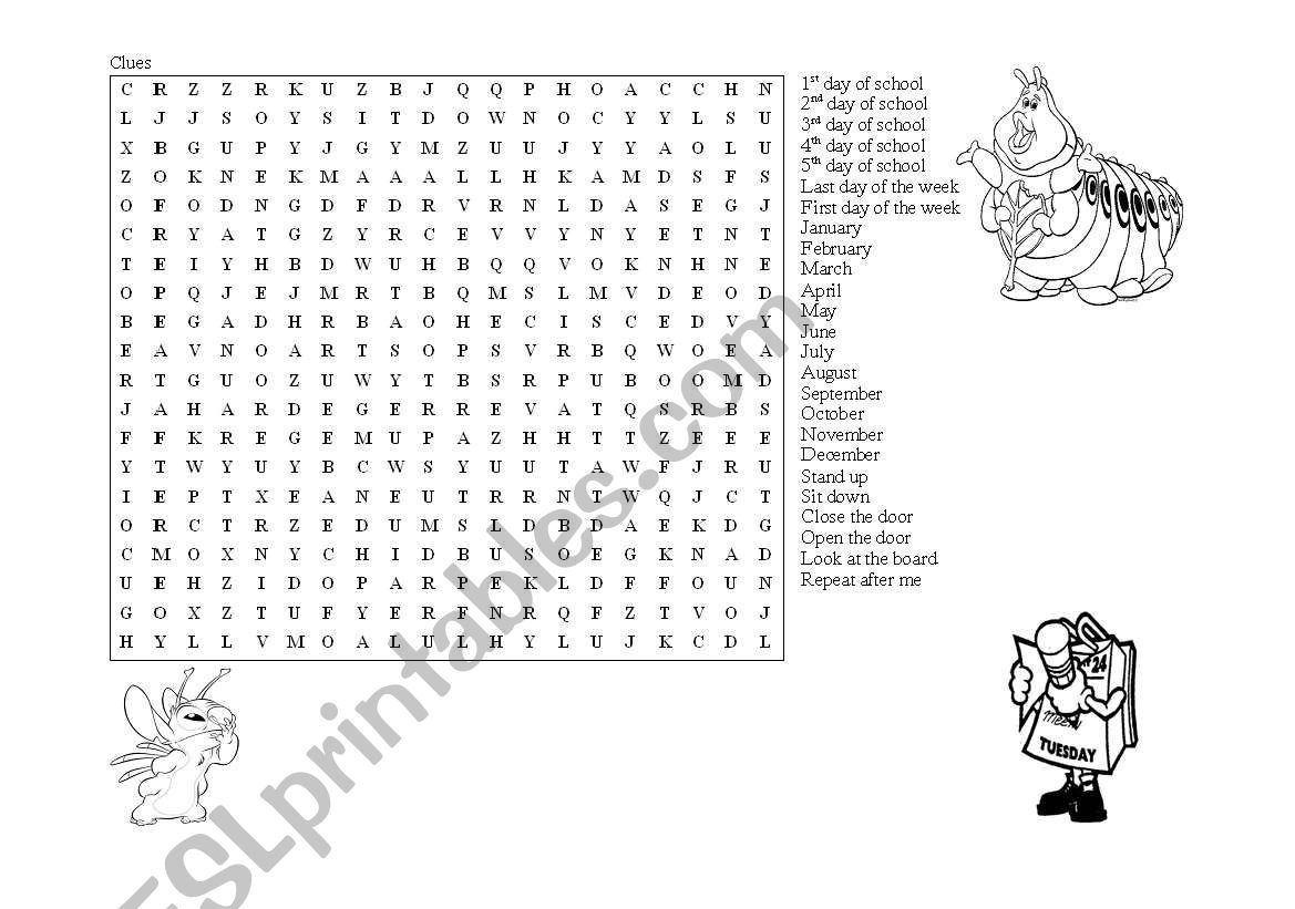 English Worksheets Months And Classroom Commands Letter Soup