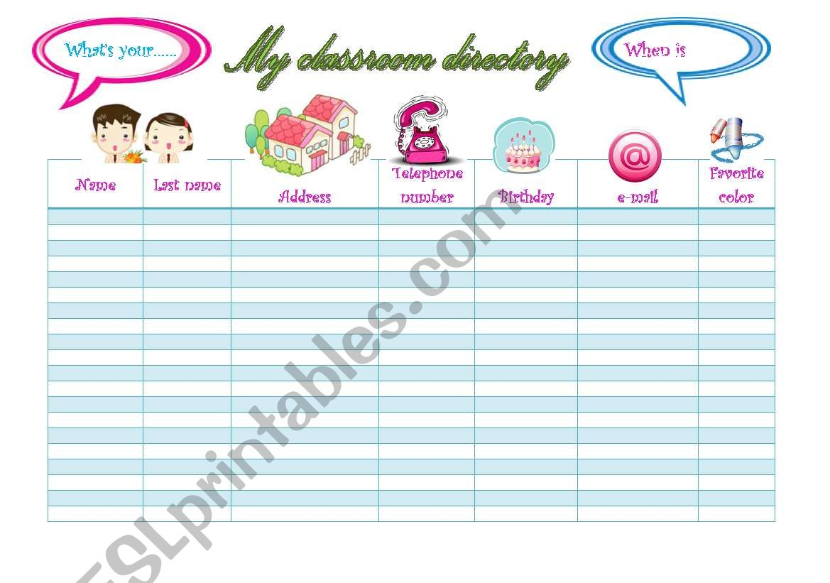 My Classroom Directory