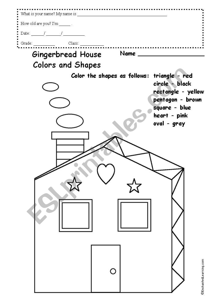 English worksheets: gingerbread house colours and shapes