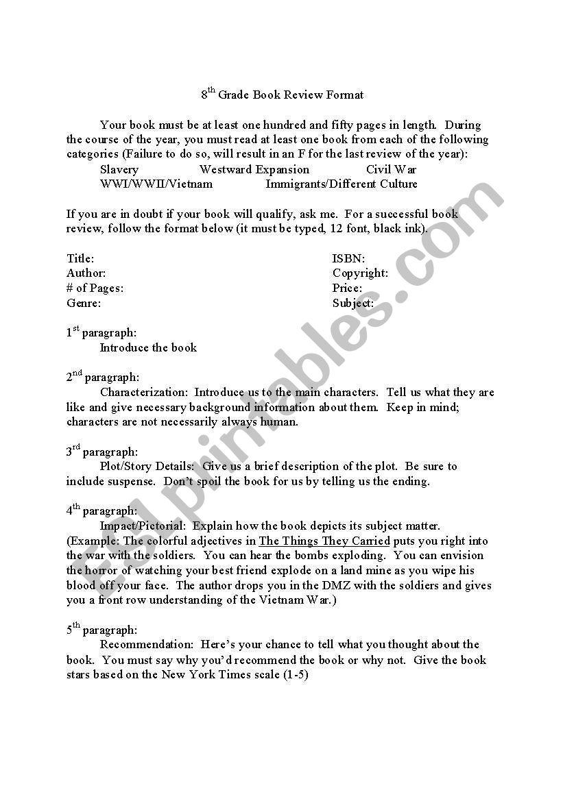 medium resolution of English worksheets: 8th Grade Book Review Format