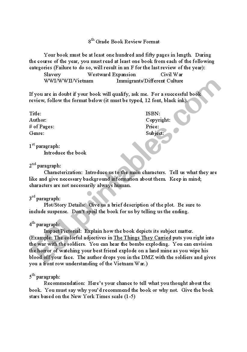 hight resolution of English worksheets: 8th Grade Book Review Format