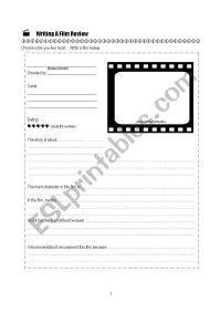 Worksheet Film Review Template - Kidz Activities