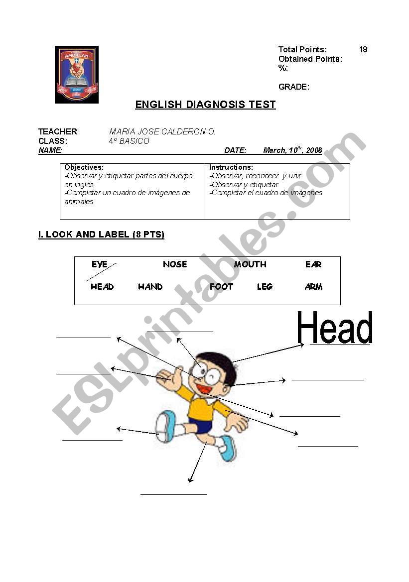 diagnostic test for elementary school students (4th grade
