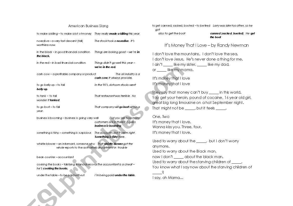 American Business Slang Vocabulary And Randy Newman Gap