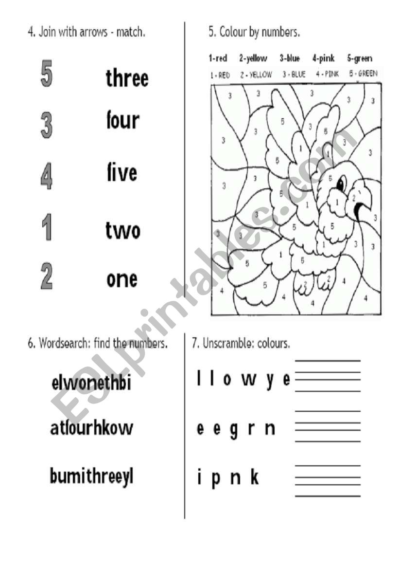 Colours and numbers (join, colour the picture, find and