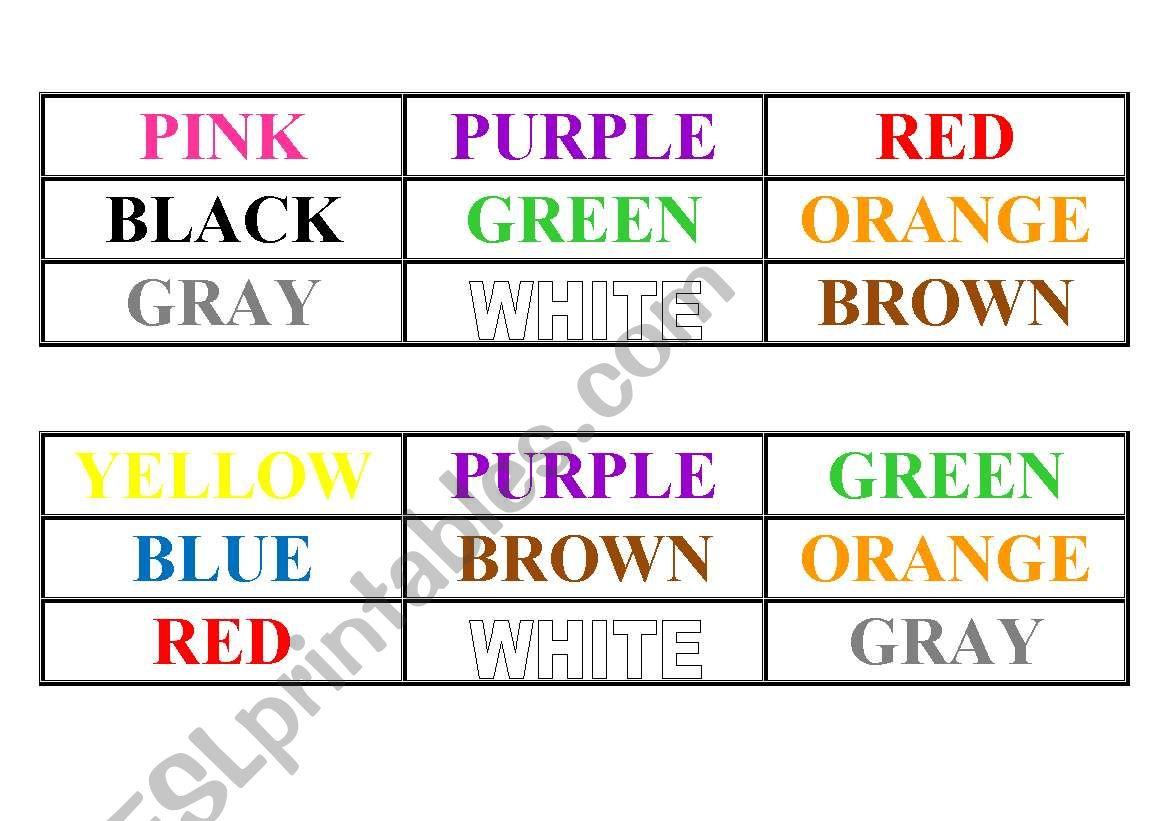 English Worksheets Colours Bingo