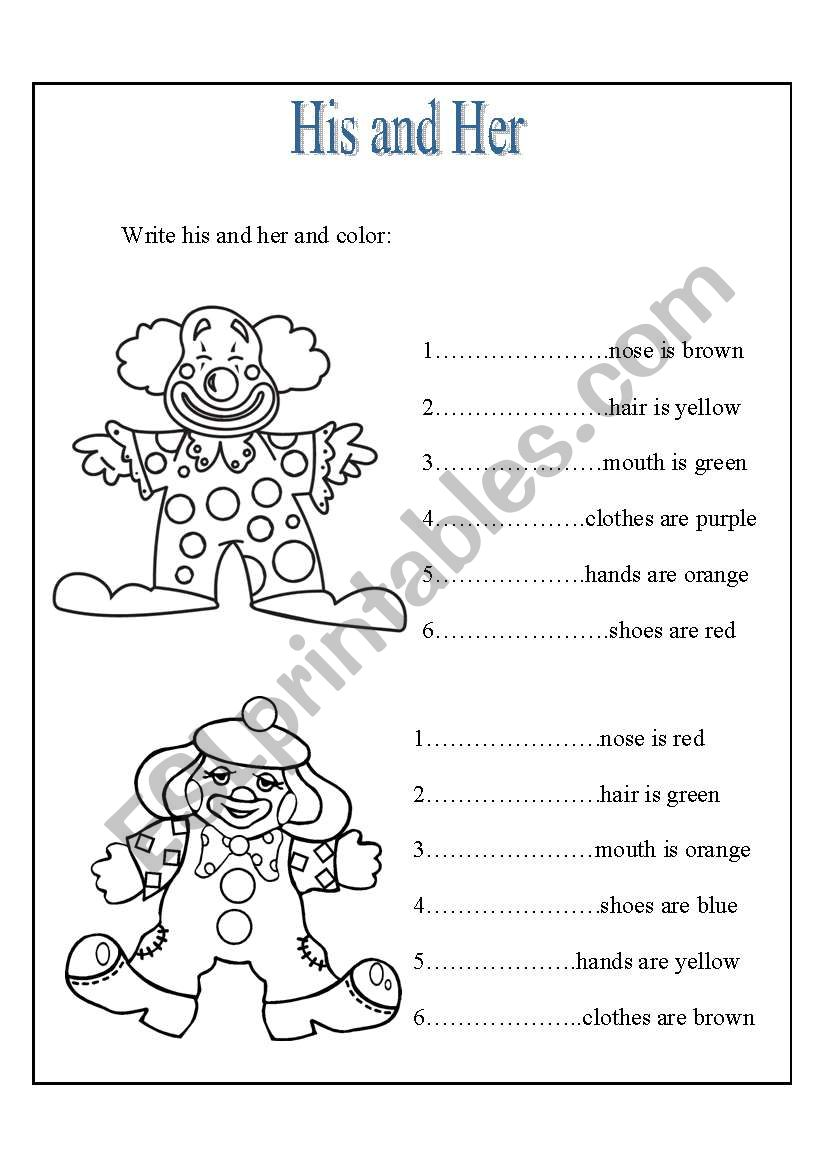 His and Her  ESL worksheet by elesy