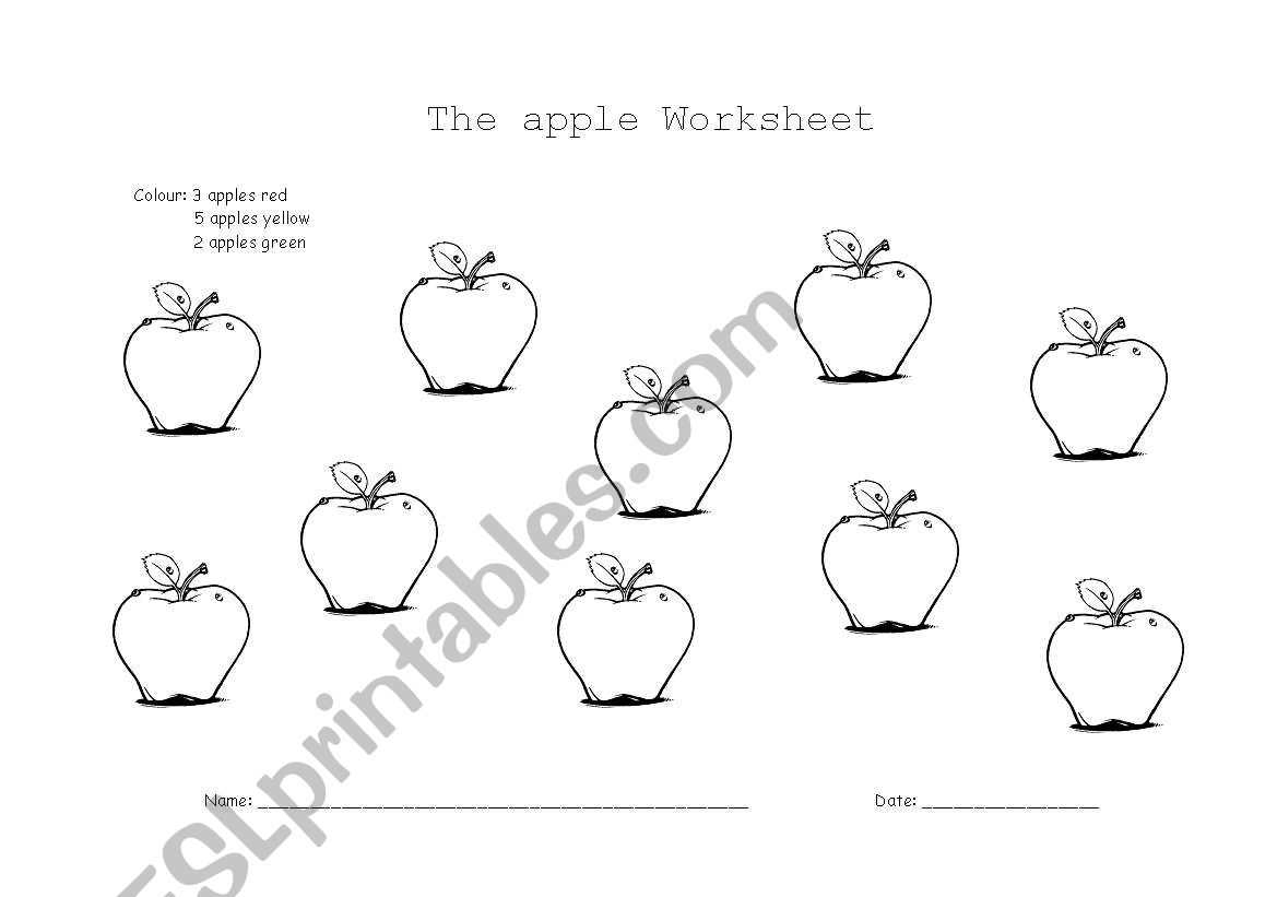 English Worksheets The Apple Worksheet