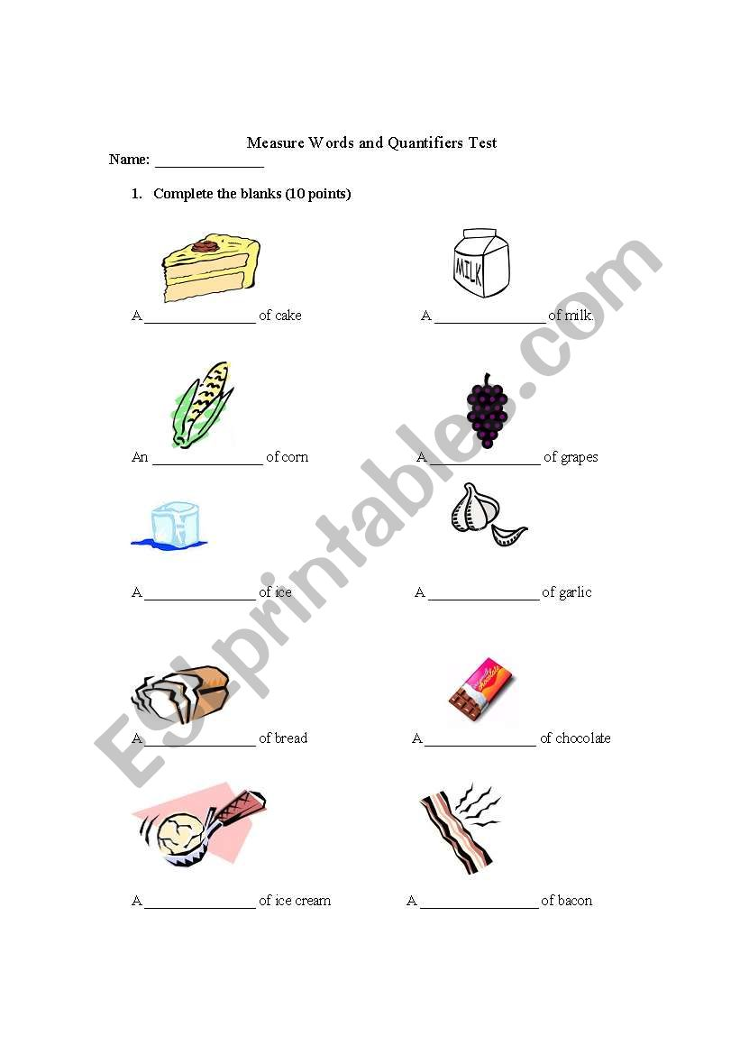 English worksheets: Measure Words and Quantifiers Test