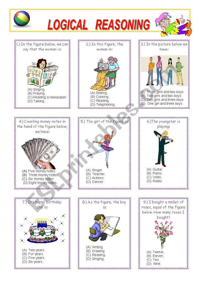 hight resolution of LOGICAL REASONING (1 - 2) - ESL worksheet by venezababi