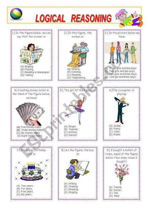 small resolution of LOGICAL REASONING (1 - 2) - ESL worksheet by venezababi