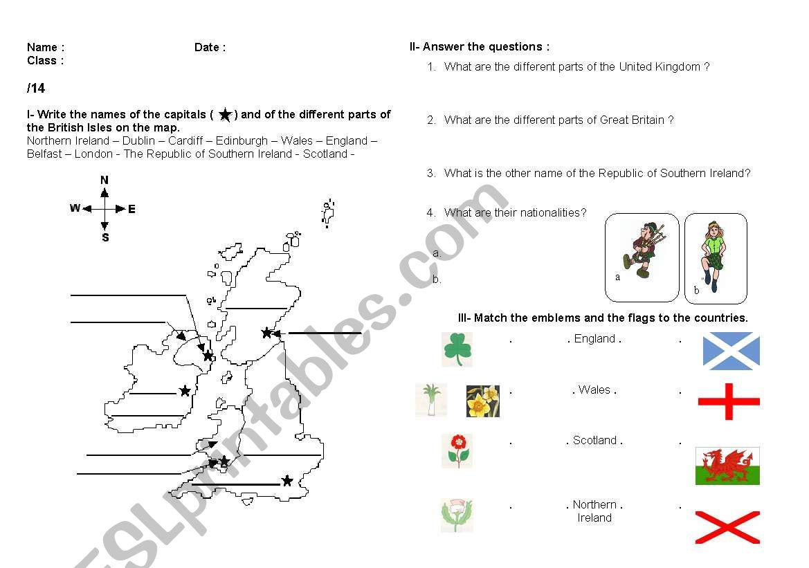Test On The British Isles Different Parts Nationalities