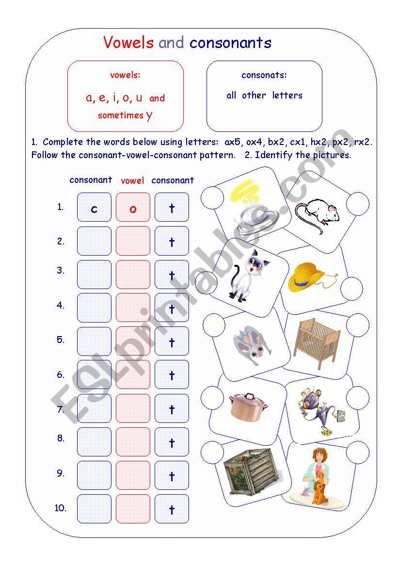hight resolution of Vowels and consonants - ESL worksheet by Irina55
