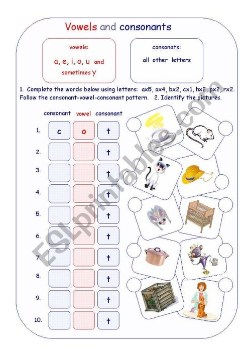 small resolution of Vowels and consonants - ESL worksheet by Irina55