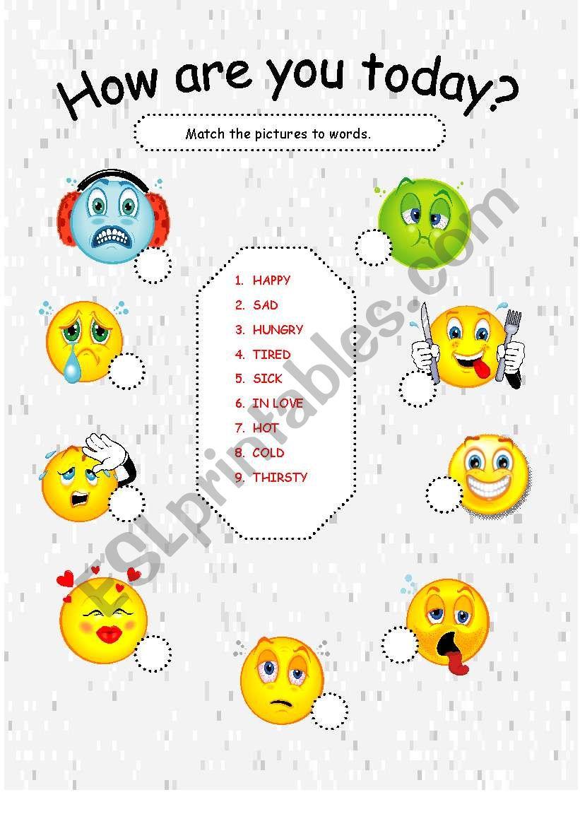 HOW ARE YOU TODAY ? ( FEELINGS) - ESL worksheet by lisa jayne