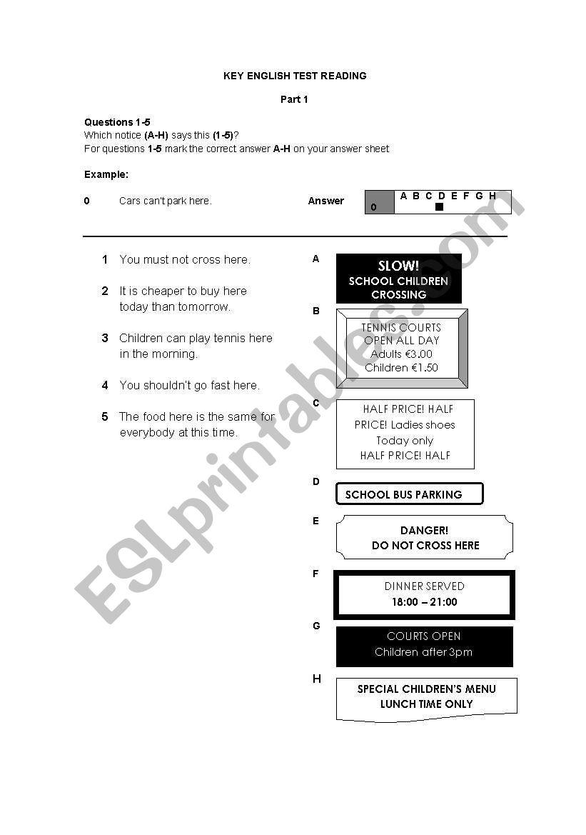 English worksheets: KET Reading Part 1