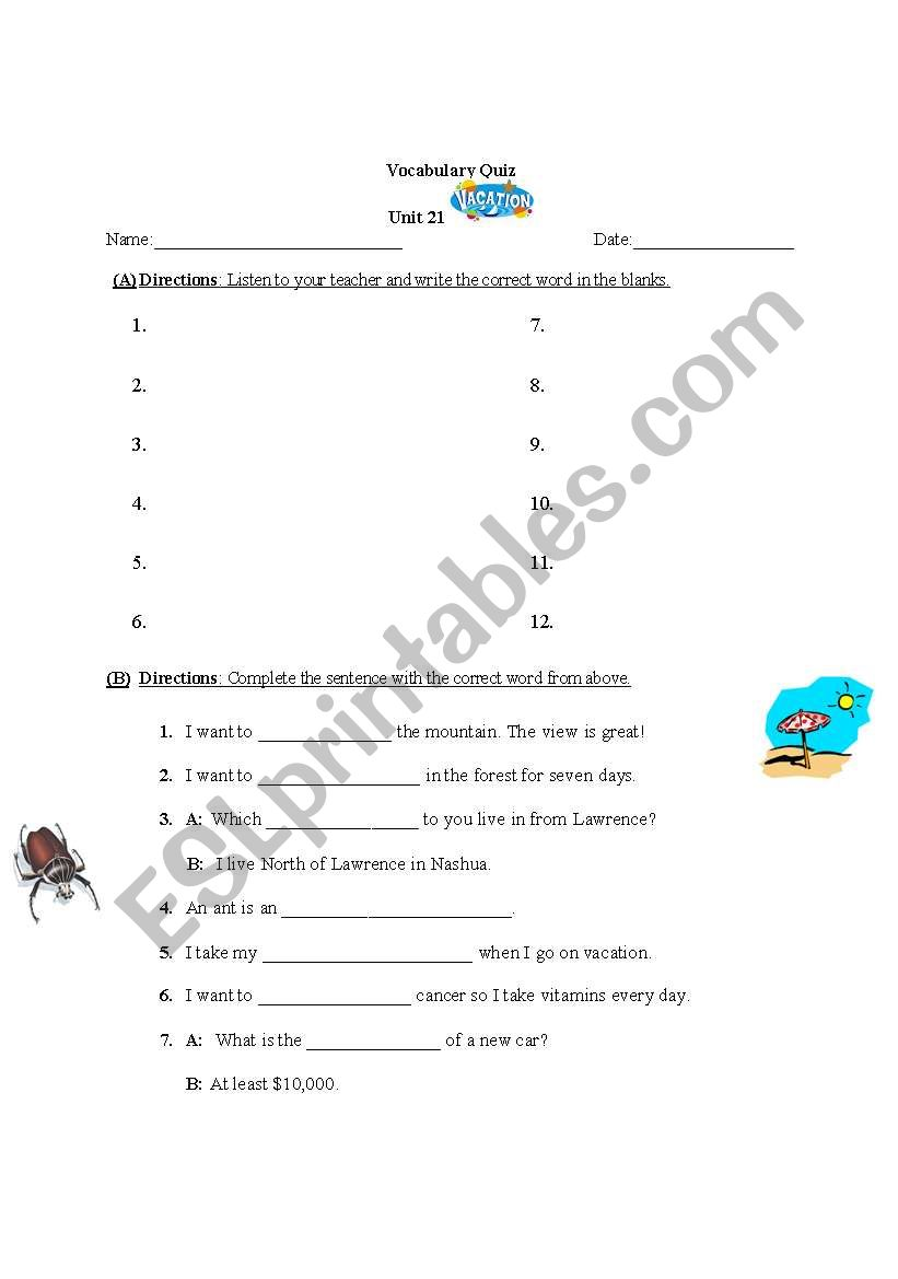 English worksheets: Vacation words, Vocabulary Quiz with
