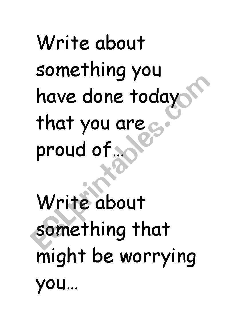 English worksheets: Journal Writing sentence starters