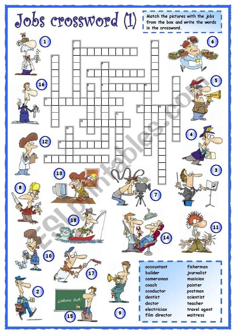 medium resolution of Jobs crossword (1 of 3) - ESL worksheet by mpotb