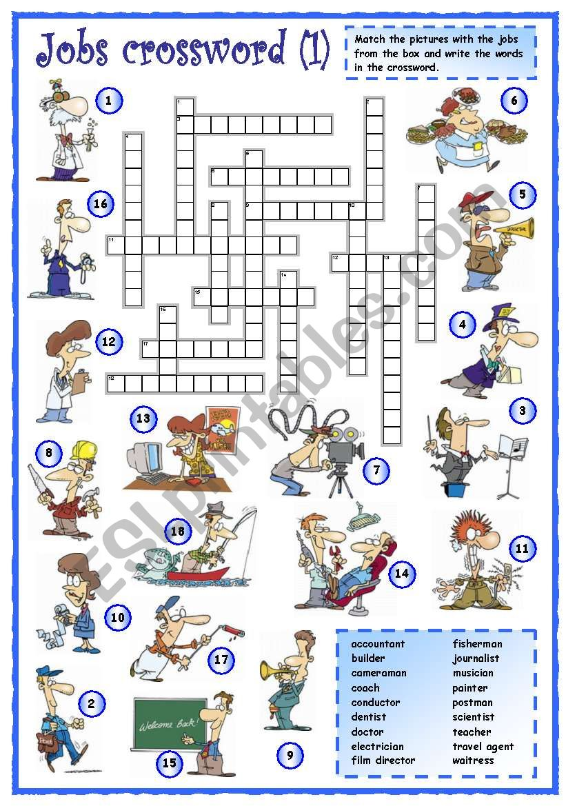 hight resolution of Jobs crossword (1 of 3) - ESL worksheet by mpotb