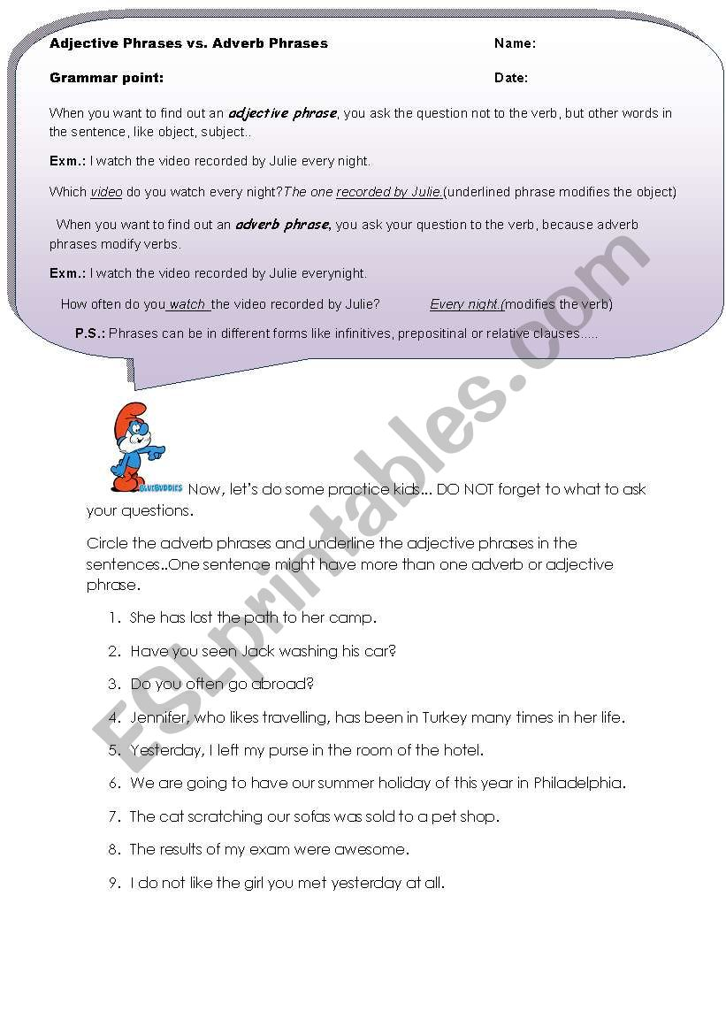 hight resolution of adjective-adverb phrases - ESL worksheet by asli87