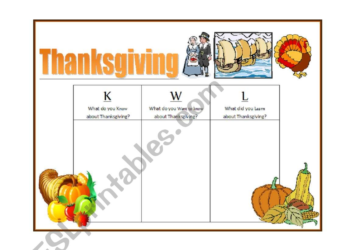 English Worksheets Thanksgiving Amp Kwl Learning Strategy