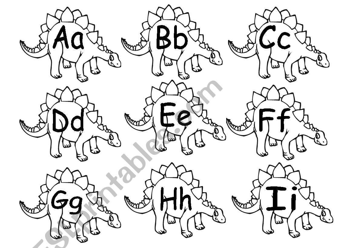 English Worksheets Alphabet Dinosaurs