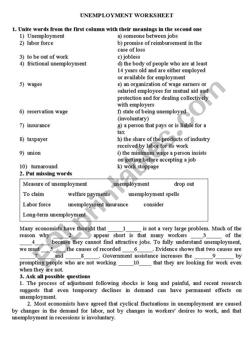 Unemployment Worksheet