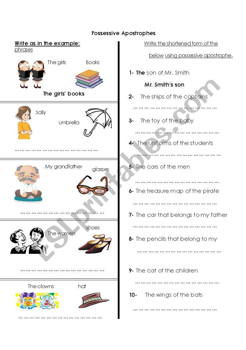 hight resolution of Possessive Apostrophes (Part 1) - ESL worksheet by Amna 107