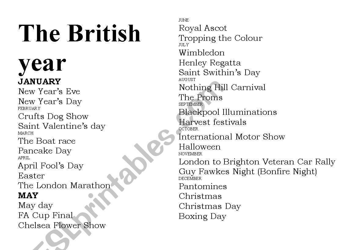 English Festivals Calendar