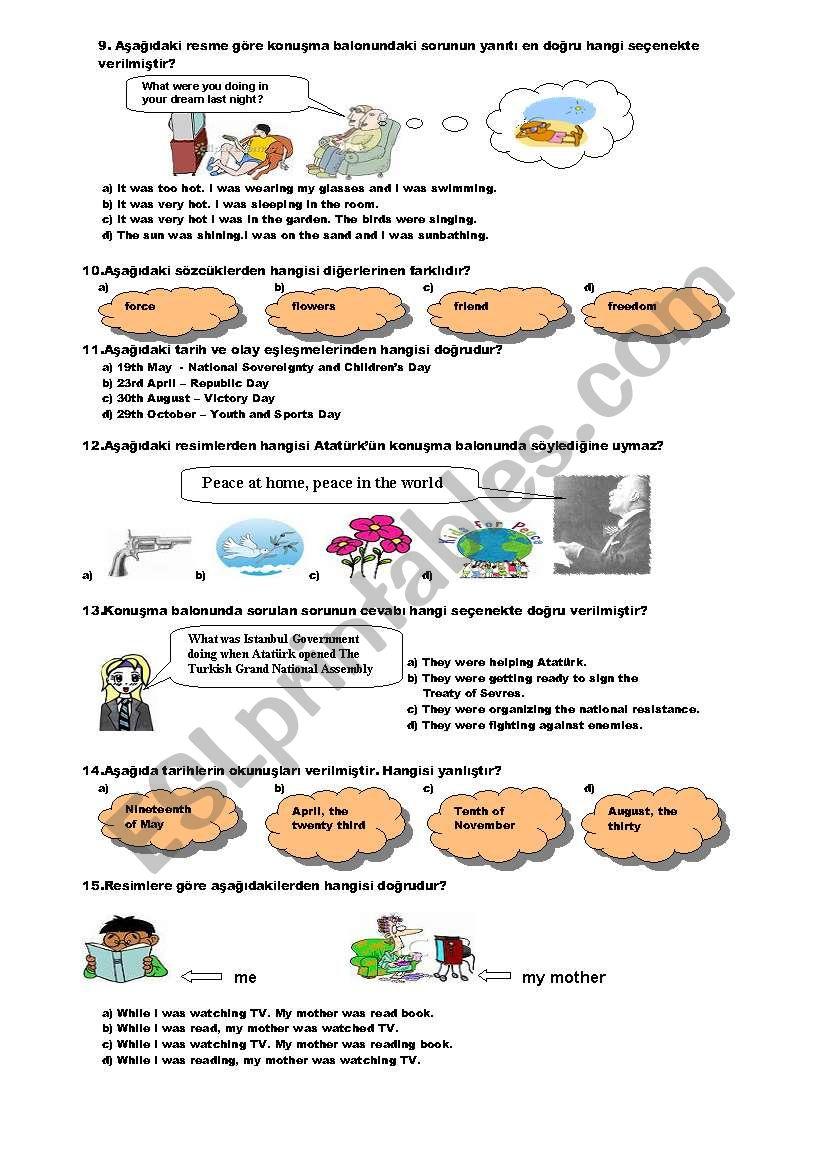 medium resolution of TEST FOR 8TH GRADE (2008-2009