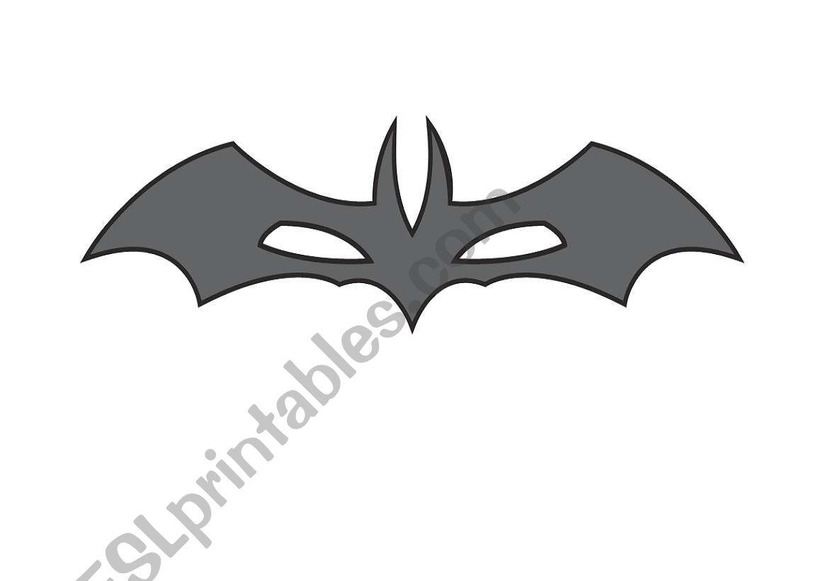 English Worksheets Bat Mask