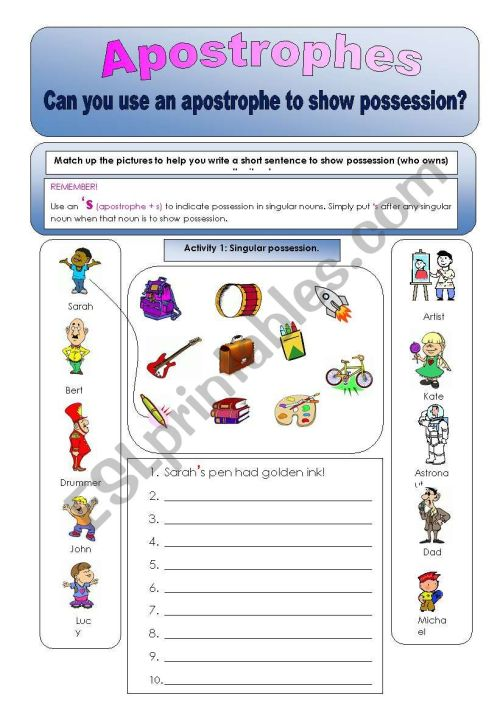 small resolution of Apostrophes:Can you use apostrophes to show possession? Plural and singular  activities - ESL worksheet by cheezels