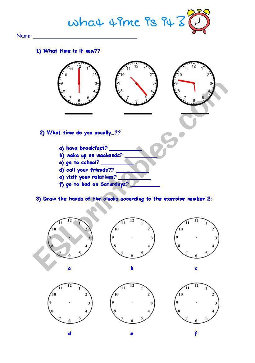 medium resolution of Telling time - ESL worksheet by kkl_br