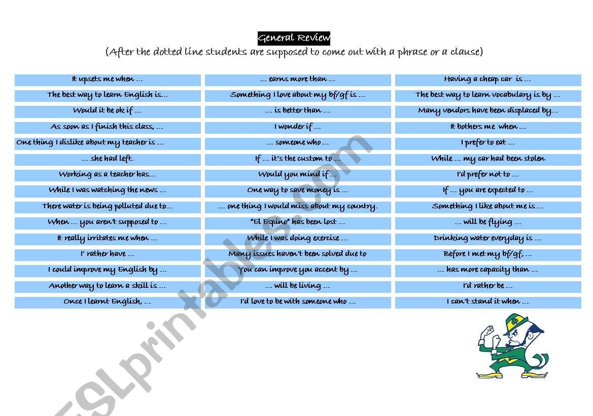 English Worksheets Clauses And Phrases